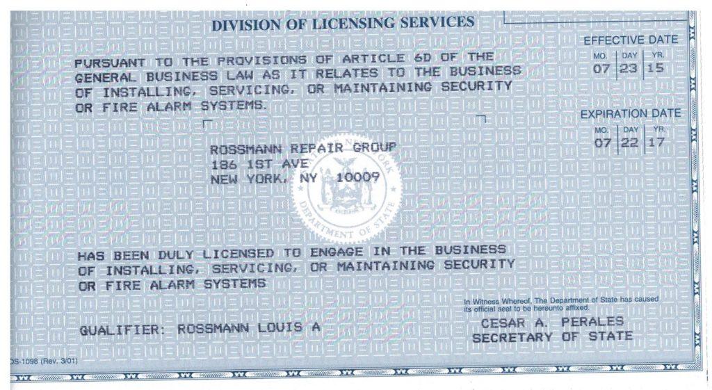 Security or Fire Alarm System Installer License